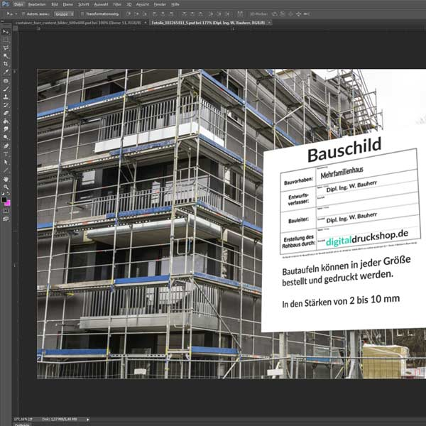 Fassadenschild online gestalten